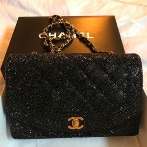 Authentic Black Chanel Diana Crystal Strass Bag